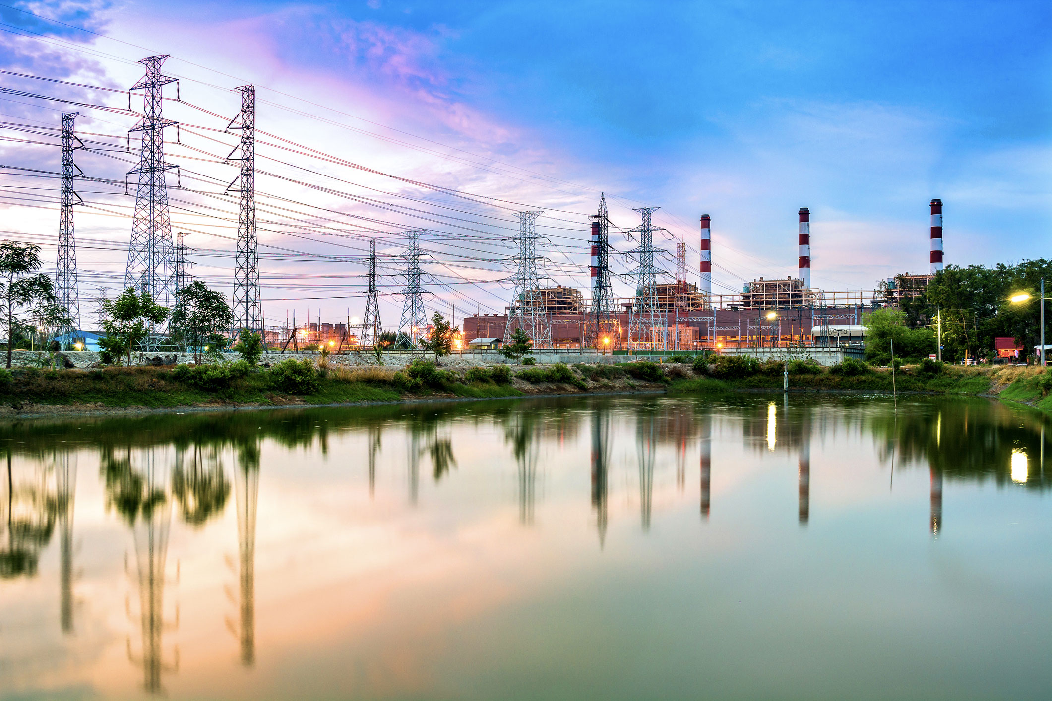 Twilight-photo-of-power-plant